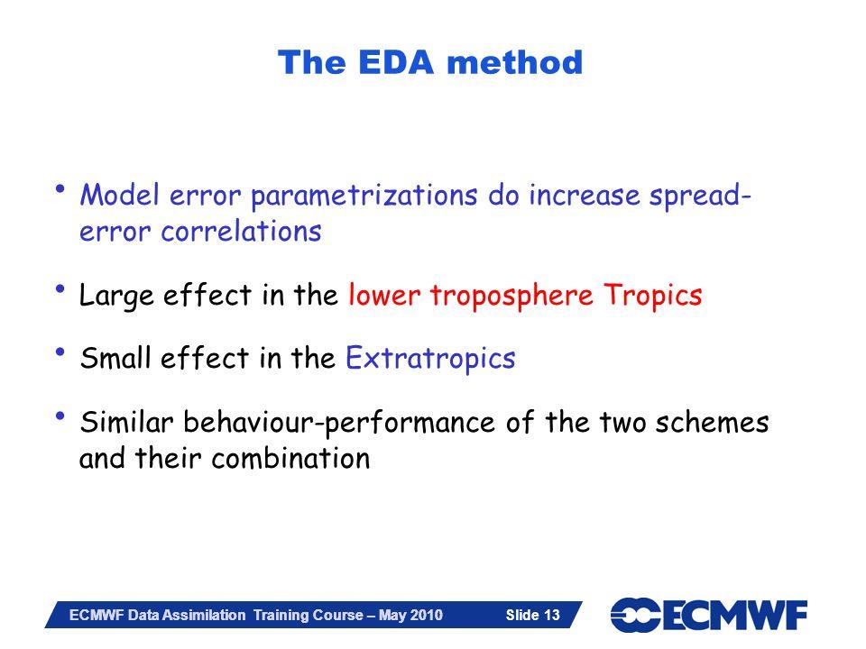 The EDA method Model error parametrizations do increase spread-error correlations. Large effect in the lower troposphere Tropics.