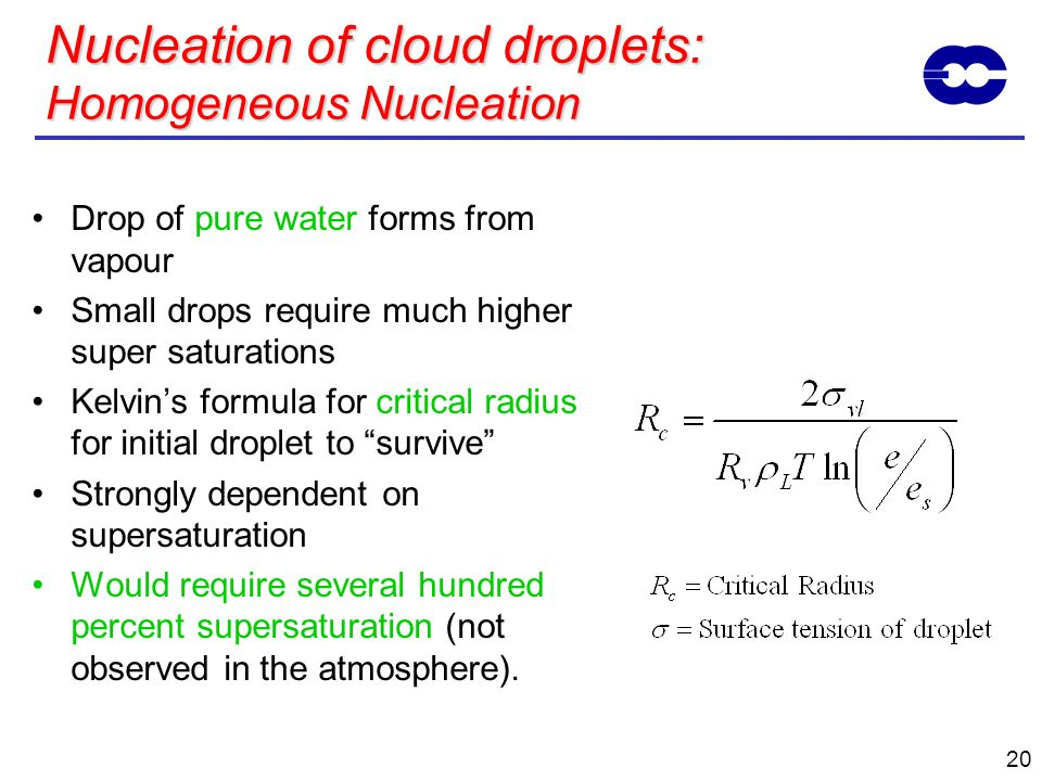 Nucleation of cloud droplets: Homogeneous Nucleation