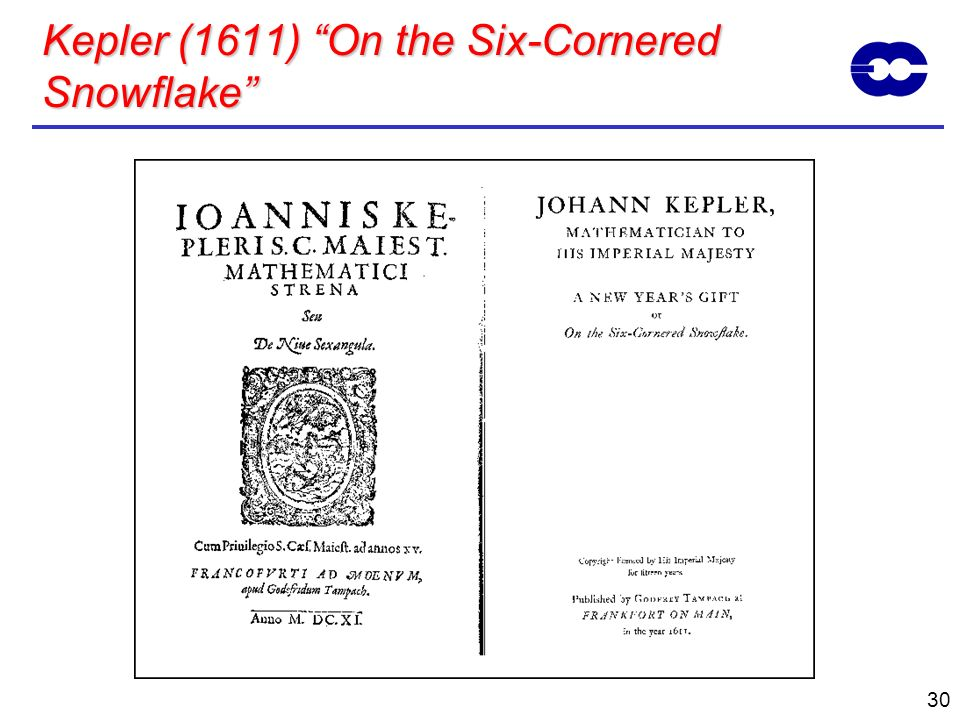 Kepler (1611) On the Six-Cornered Snowflake
