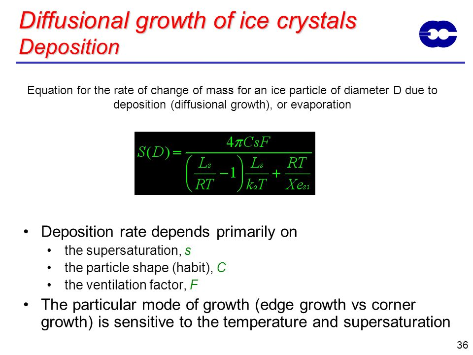 Diffusional growth of ice crystals Deposition