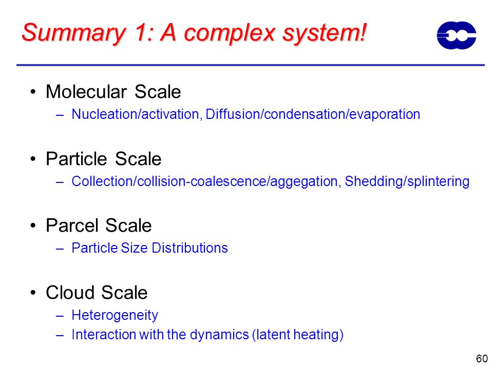Summary 1: A complex system!