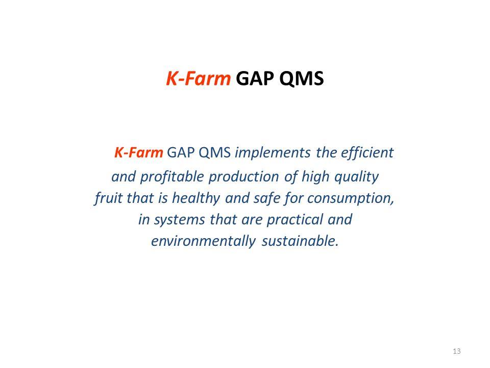K-Farm GAP QMS implements the efficient