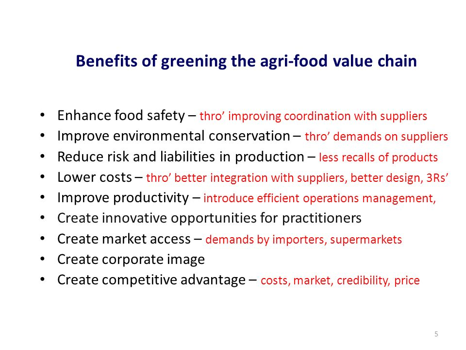 Benefits of greening the agri-food value chain