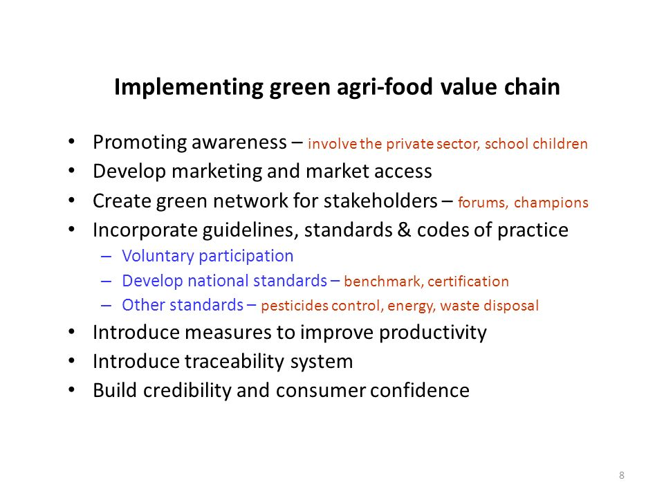 Implementing green agri-food value chain
