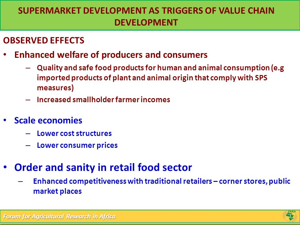 SUPERMARKET DEVELOPMENT AS TRIGGERS OF VALUE CHAIN DEVELOPMENT