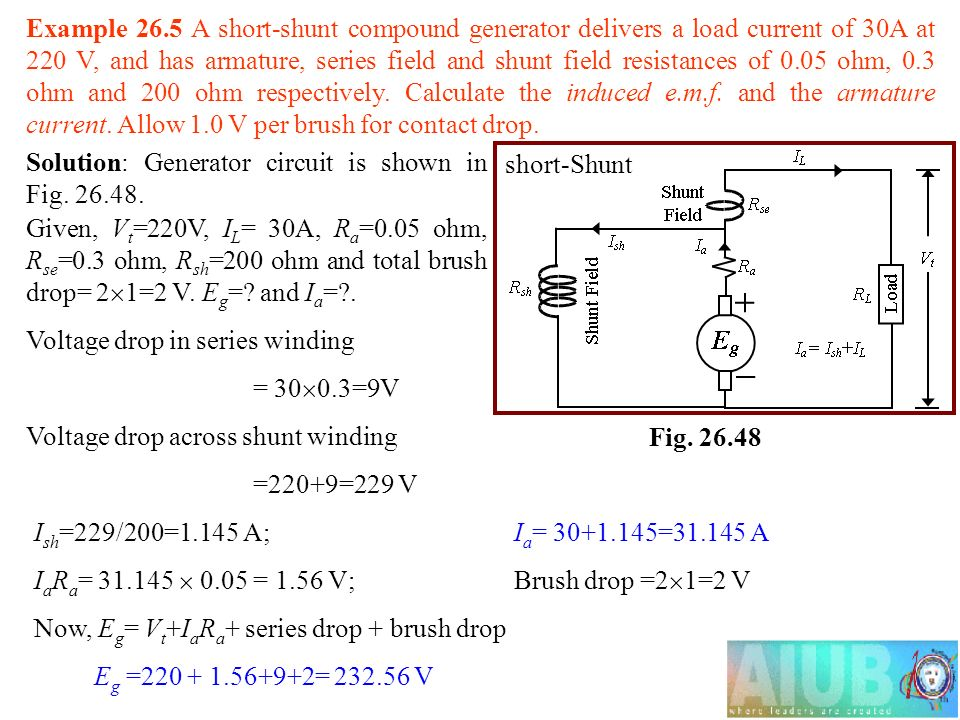 Example+26.5+A+short shunt+compound+generator+delivers+a+load+current+of+30A+at+220+V%2C+and+has+armature%2C+series+field+and+shunt+field+resistances+of+0.05+ohm%2C+0.3+ohm+and+200+ohm+respectively.+Calculate+the+induced+e.m.f.+and+the+armature+current.+Allow+1.0+V+per+brush+for+contact+drop. dc generator types of generators generators are usually  at soozxer.org