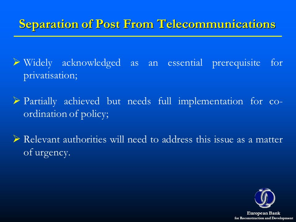 Separation of Post From Telecommunications