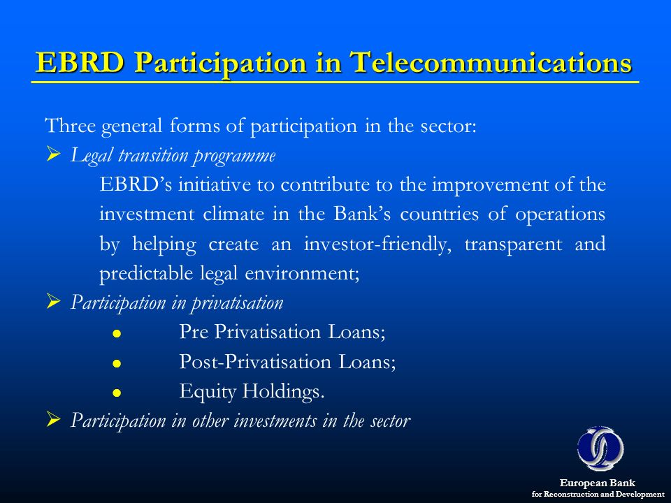 EBRD Participation in Telecommunications