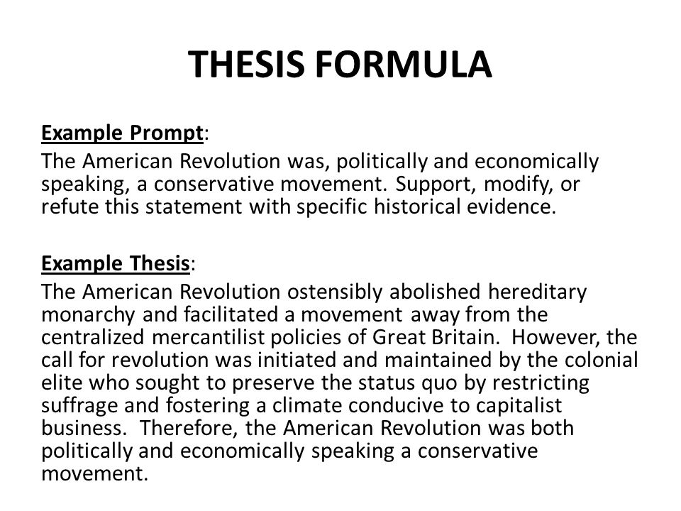 Examples of good apush thesis