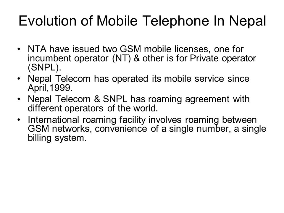 Evolution of Mobile Telephone In Nepal