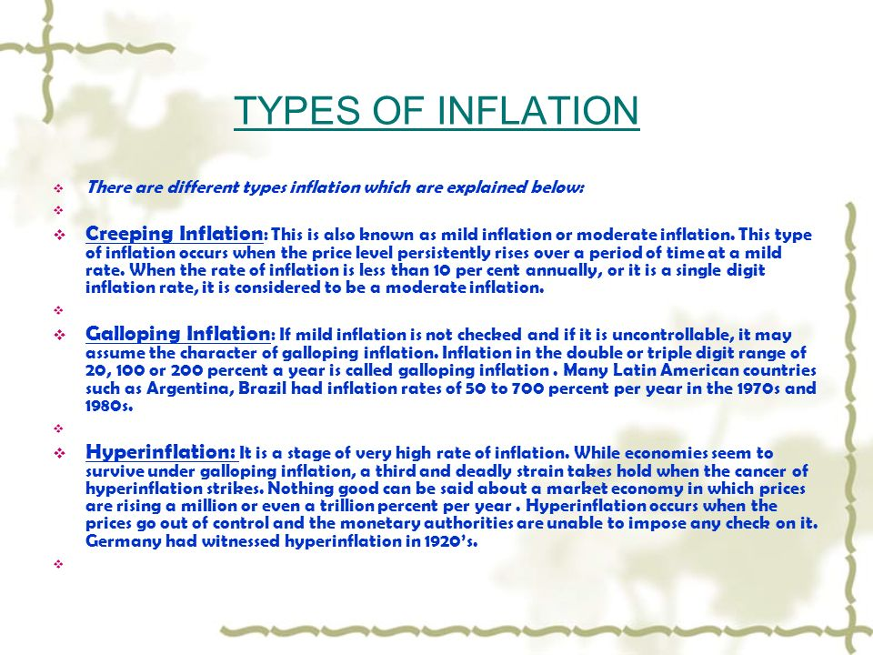inflation types Today, inflation is one of the serious problems faced by pakistan rate of inflation  in pakistan is very high according to economic survey.