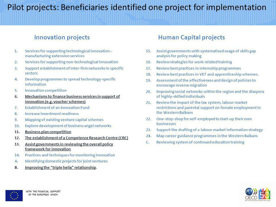 Pilot projects: Beneficiaries identified one project for implementation