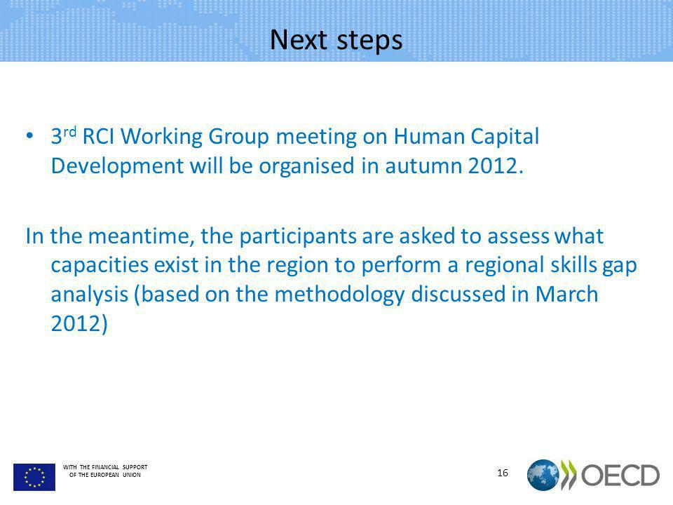 Next steps 3rd RCI Working Group meeting on Human Capital Development will be organised in autumn 2012.