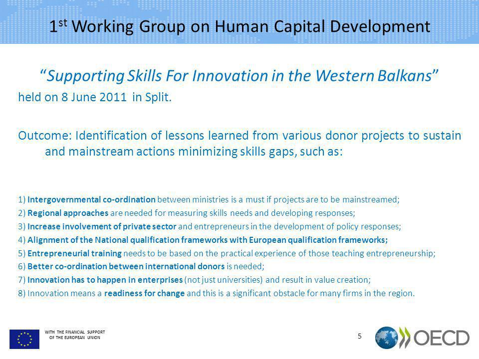 1st Working Group on Human Capital Development