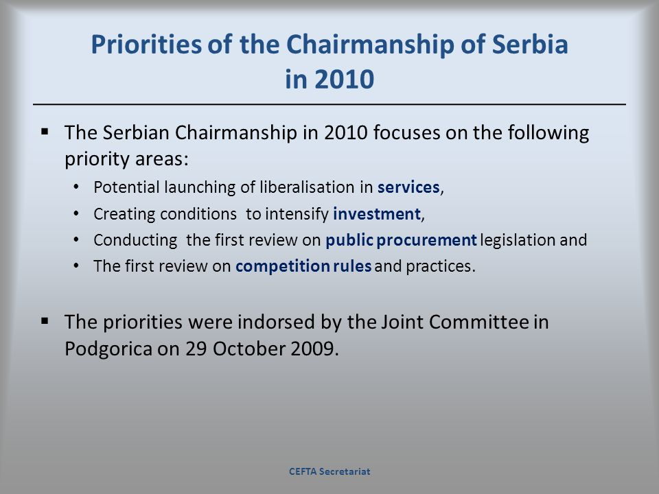 Priorities of the Chairmanship of Serbia in 2010