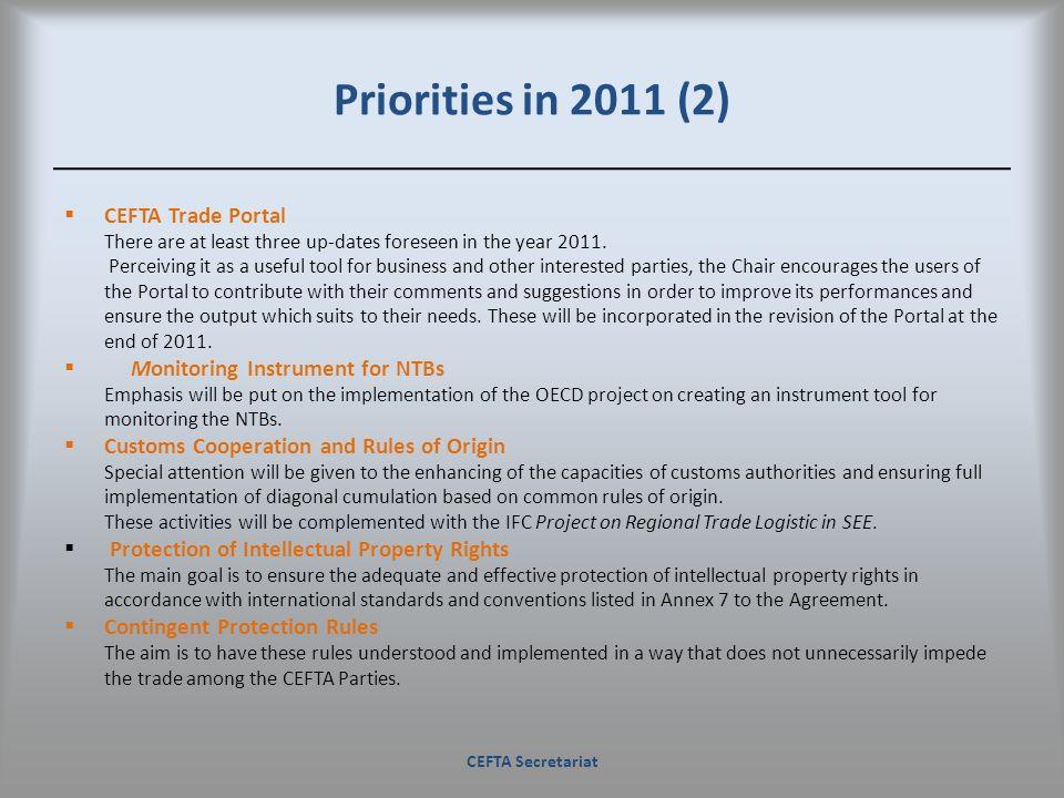 Priorities in 2011 (2) CEFTA Trade Portal