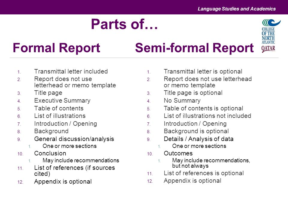 Differences and similarities with informal and formal reports – Formal Report Template