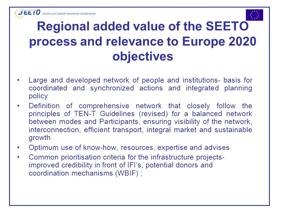 Regional added value of the SEETO process and relevance to Europe 2020 objectives