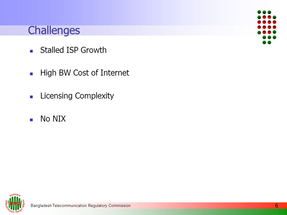 Challenges Stalled ISP Growth High BW Cost of Internet