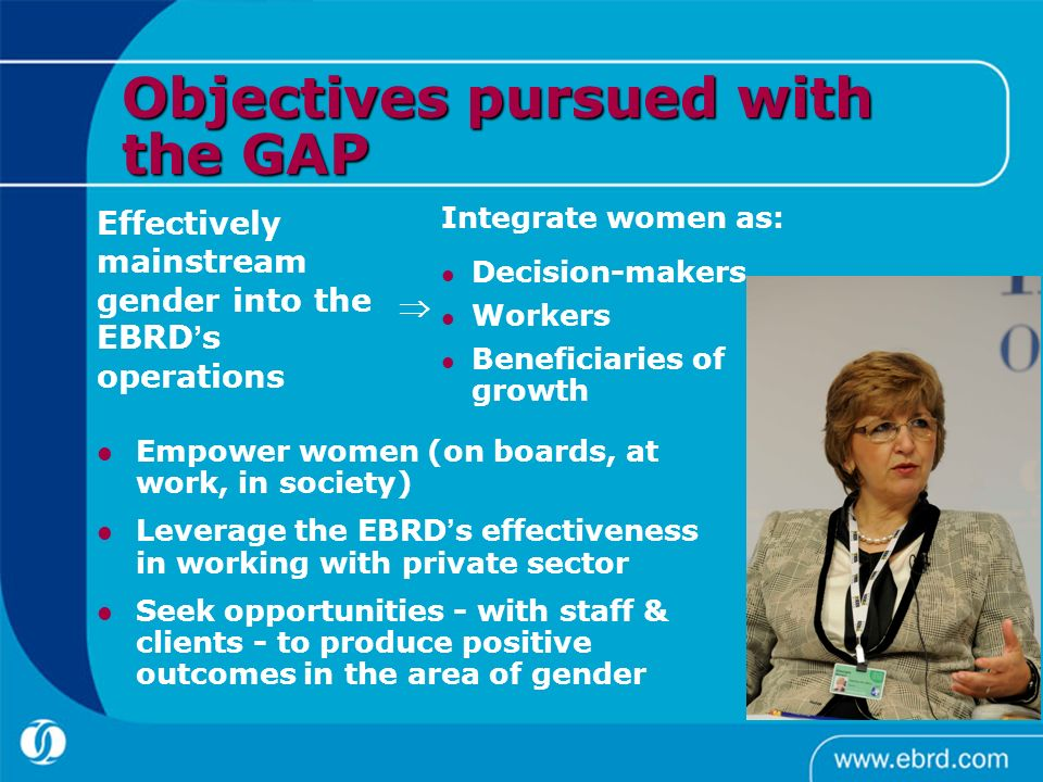 Objectives pursued with the GAP