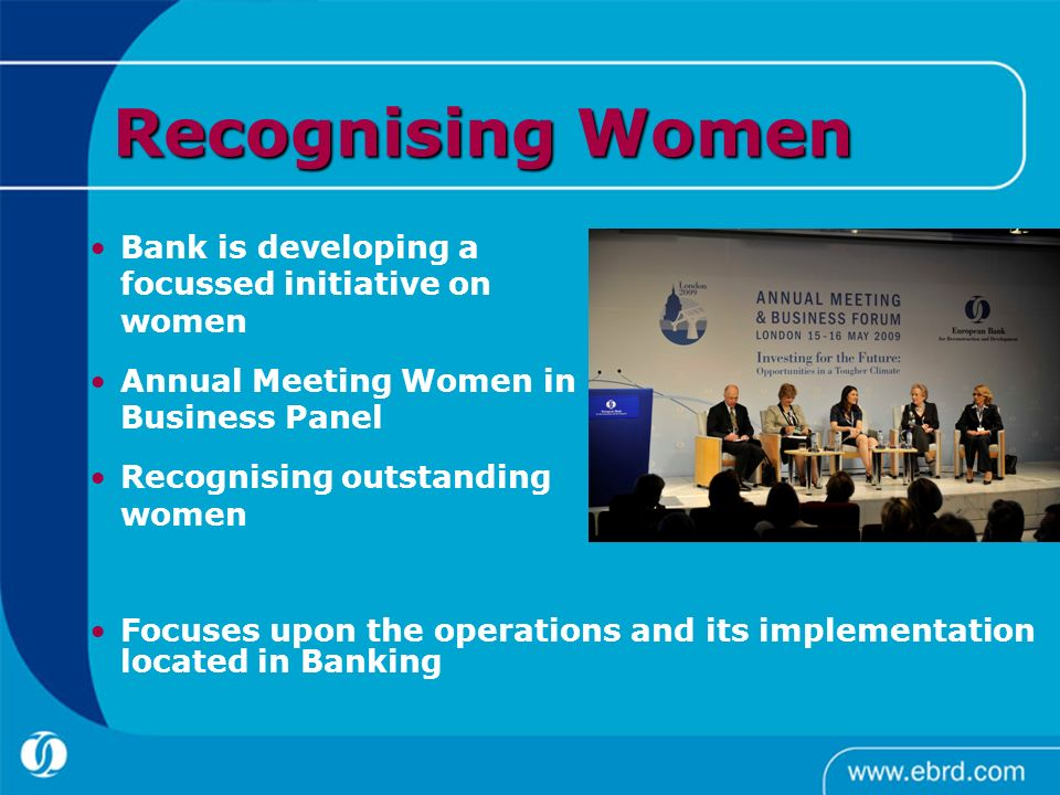 Recognising Women Bank is developing a focussed initiative on women
