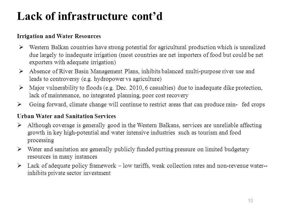 Lack of infrastructure cont'd