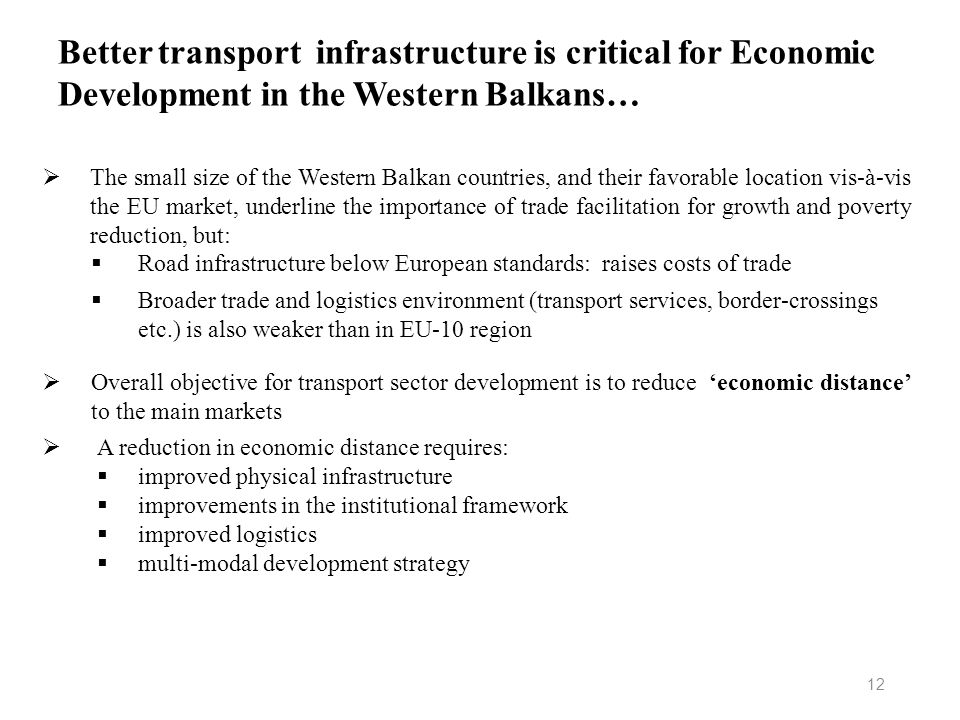 Better transport infrastructure is critical for Economic Development in the Western Balkans…
