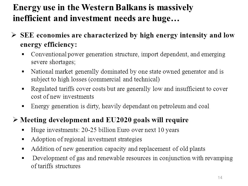 Energy use in the Western Balkans is massively inefficient and investment needs are huge…