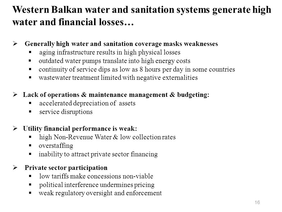 Western Balkan water and sanitation systems generate high water and financial losses…