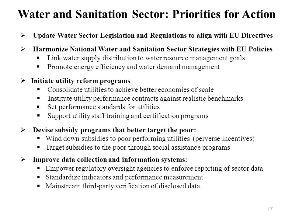 Water and Sanitation Sector: Priorities for Action