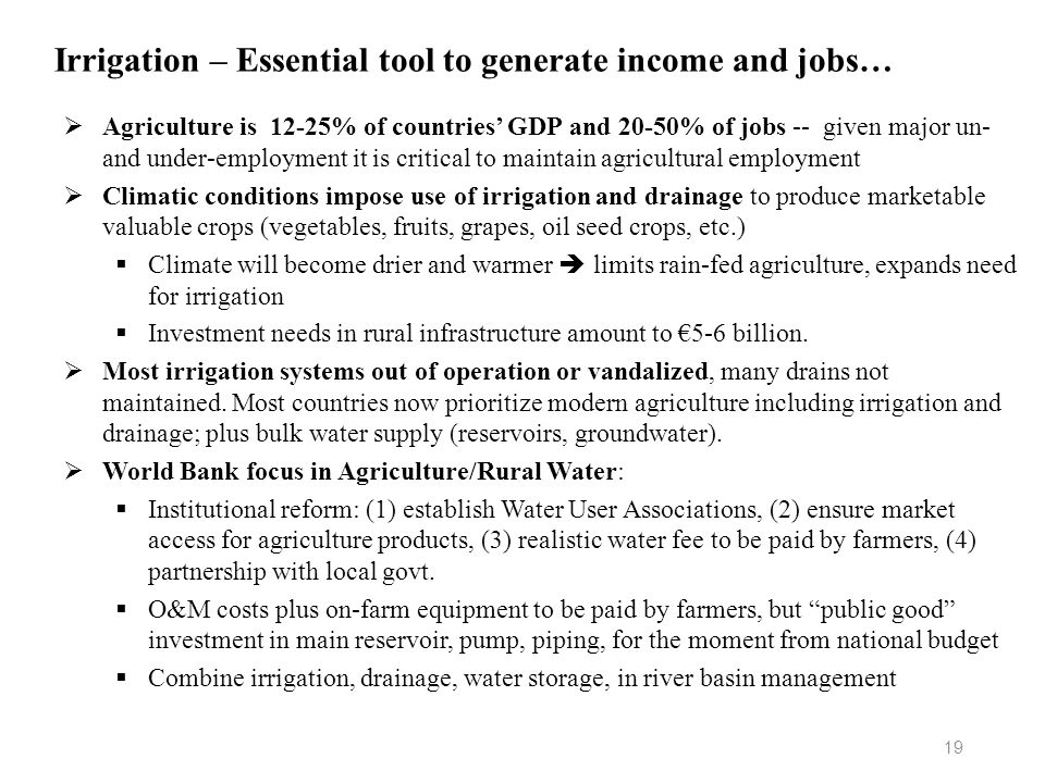 Irrigation – Essential tool to generate income and jobs…