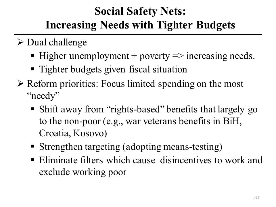 Social Safety Nets: Increasing Needs with Tighter Budgets