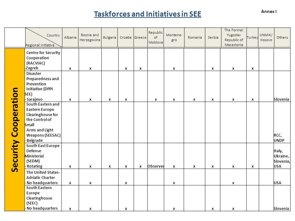 Taskforces and Initiatives in SEE