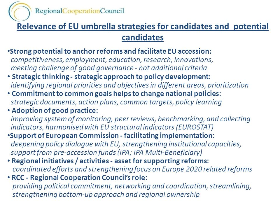 Relevance of EU umbrella strategies for candidates and potential candidates