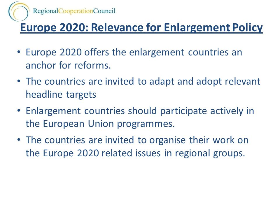 Europe 2020: Relevance for Enlargement Policy