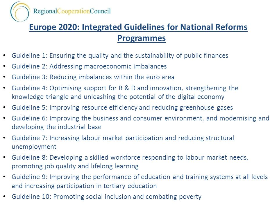 Europe 2020: Integrated Guidelines for National Reforms Programmes