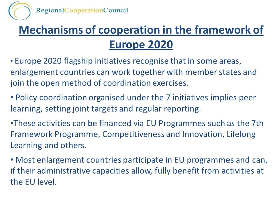 Mechanisms of cooperation in the framework of Europe 2020