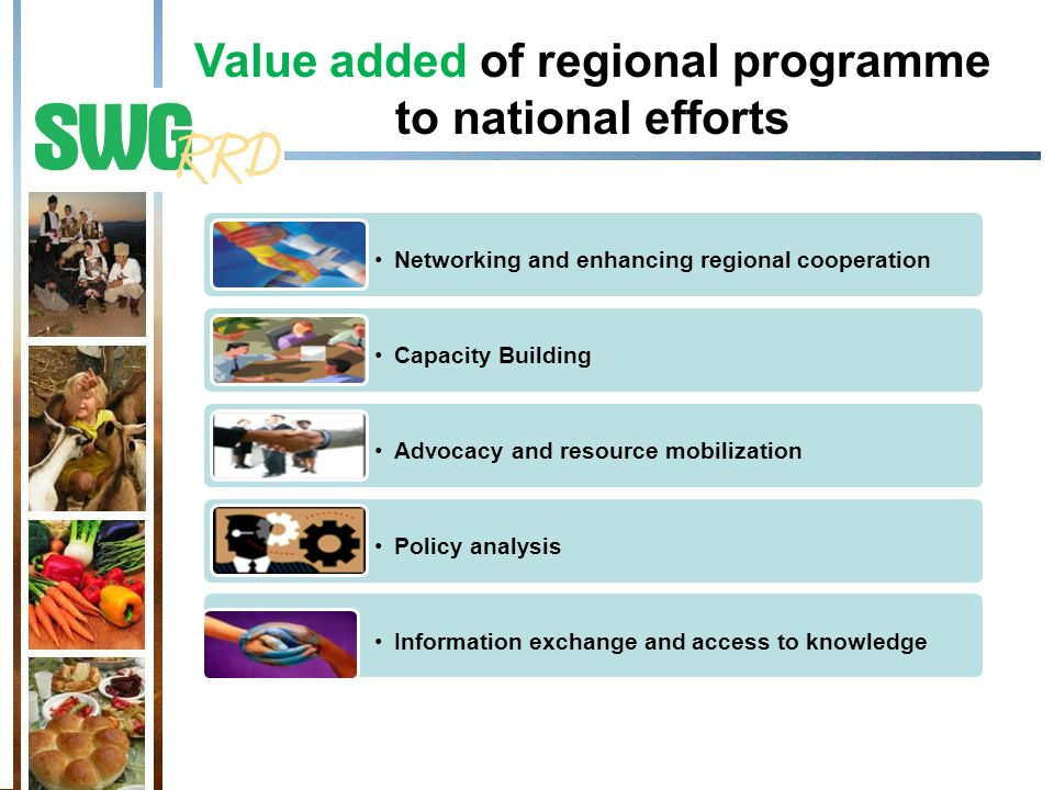 Value added of regional programme to national efforts