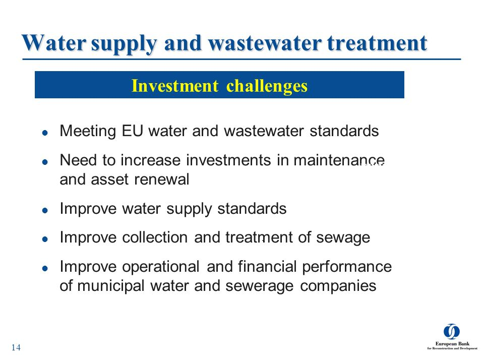 Water supply and wastewater treatment