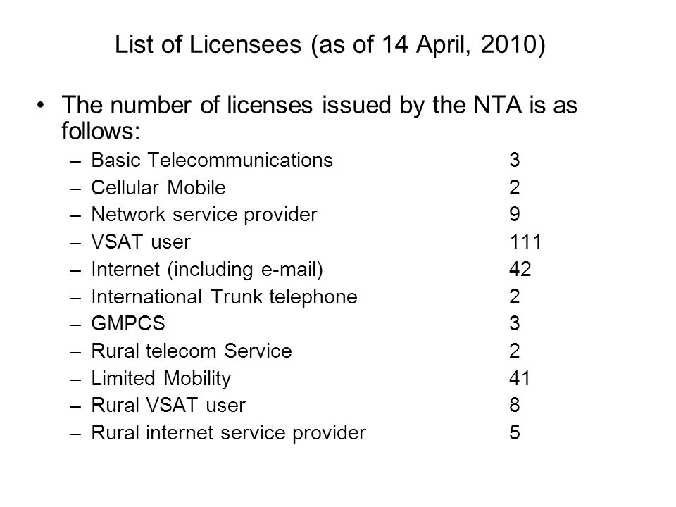 List of Licensees (as of 14 April, 2010)