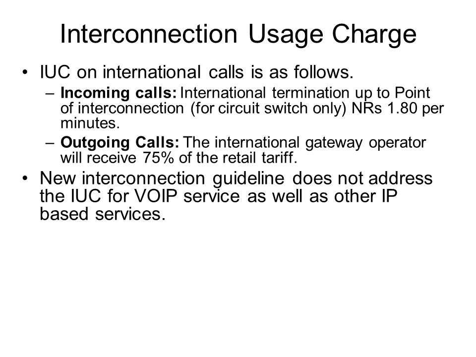 Interconnection Usage Charge