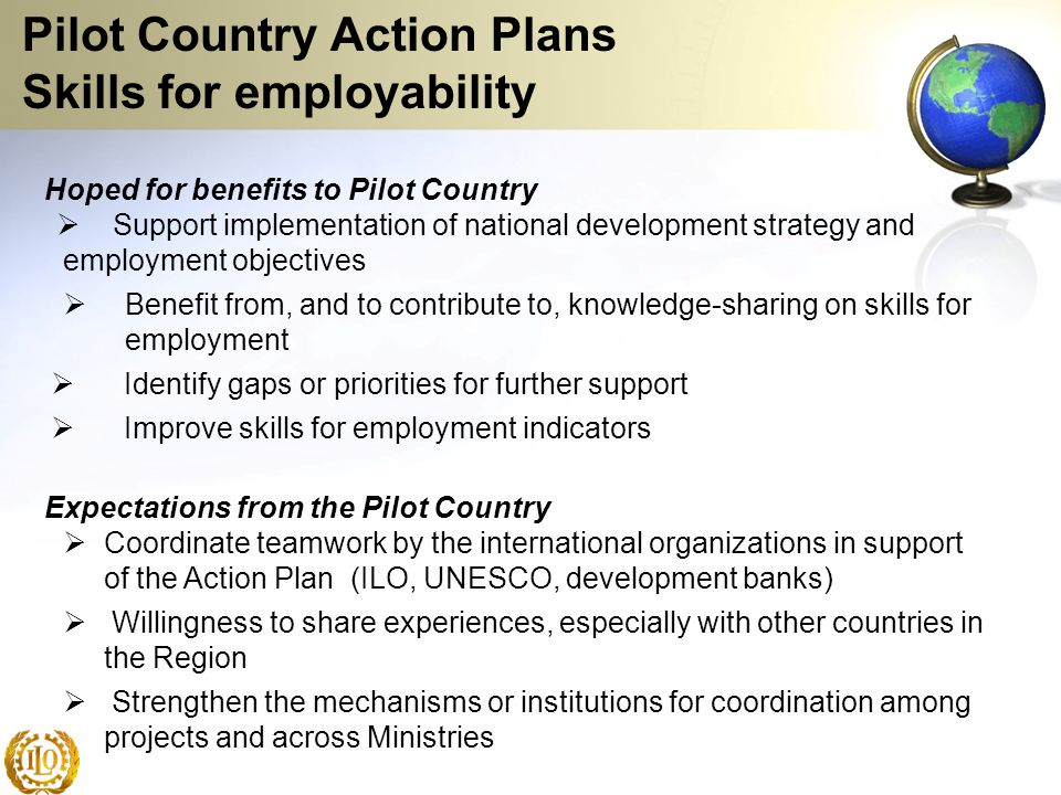 Pilot Country Action Plans Skills for employability