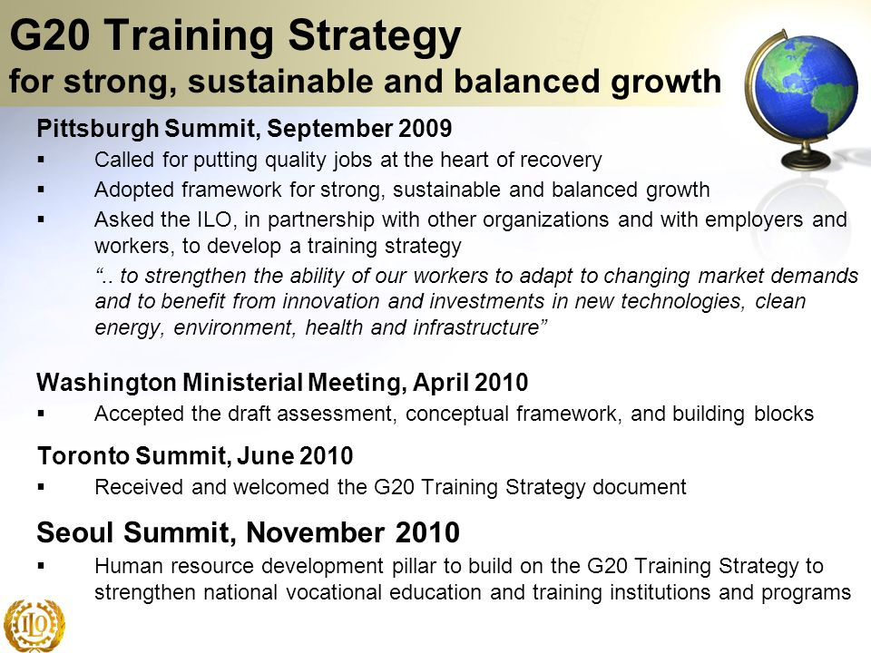 G20 Training Strategy for strong, sustainable and balanced growth
