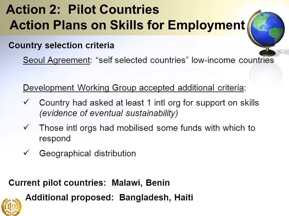 Action 2: Pilot Countries Action Plans on Skills for Employment