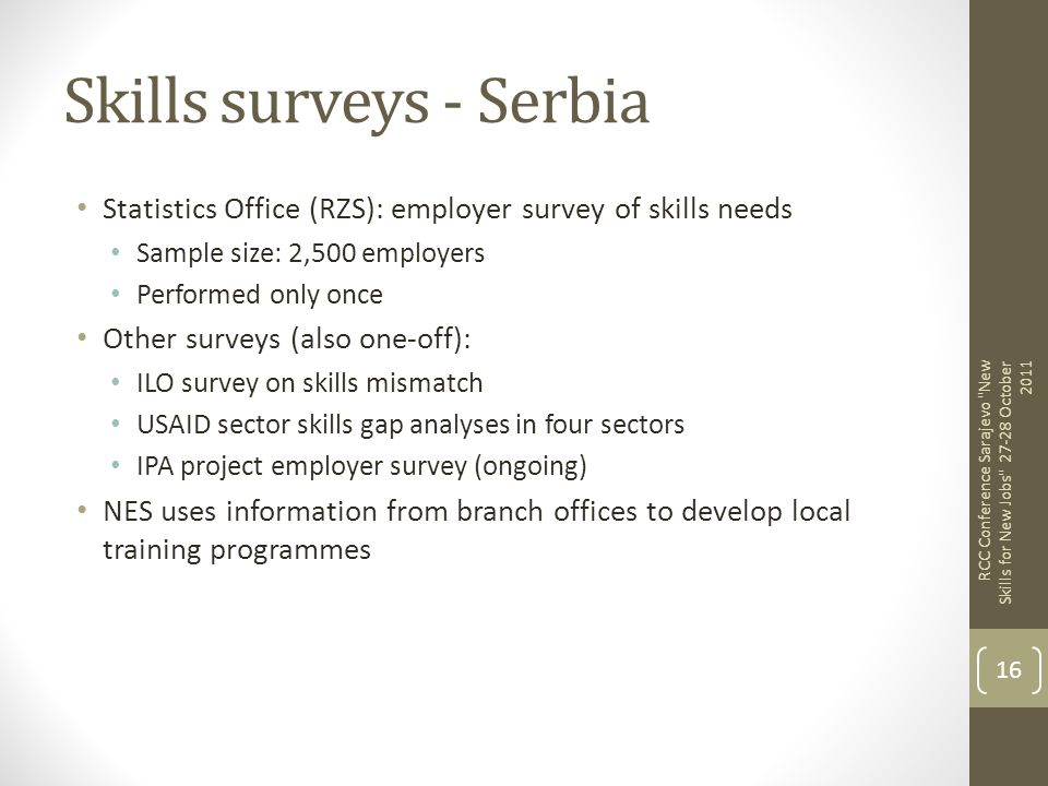 Skills surveys - Serbia