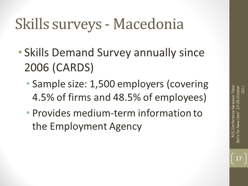Skills surveys - Macedonia