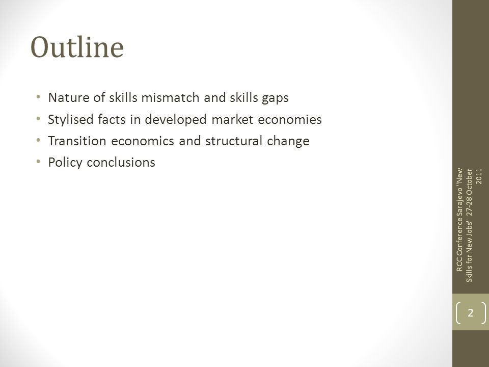 Outline Nature of skills mismatch and skills gaps