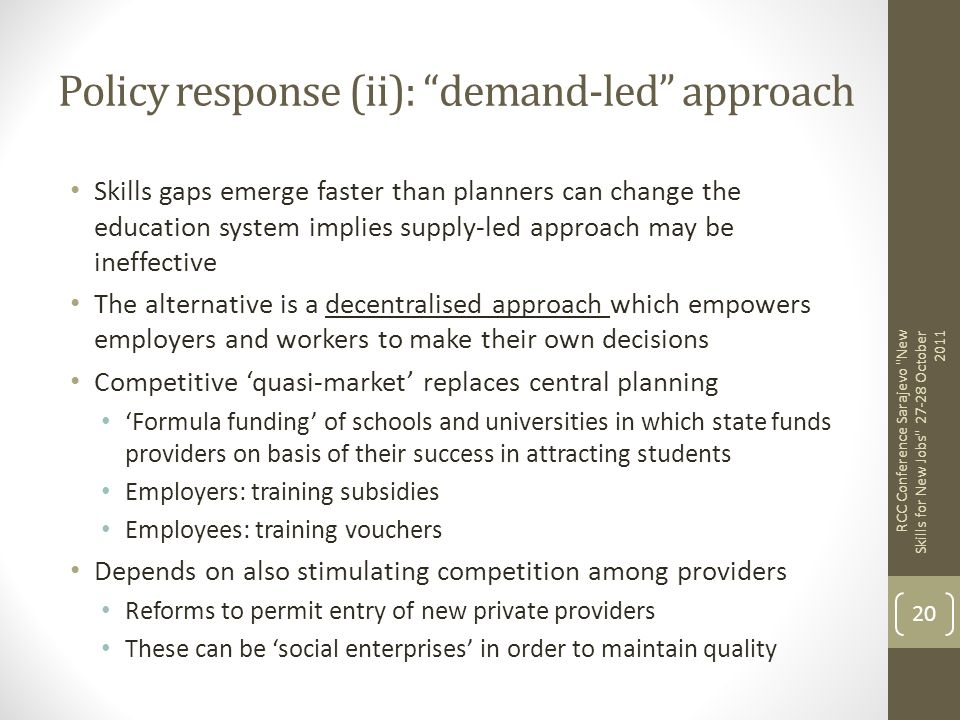 Policy response (ii): demand-led approach