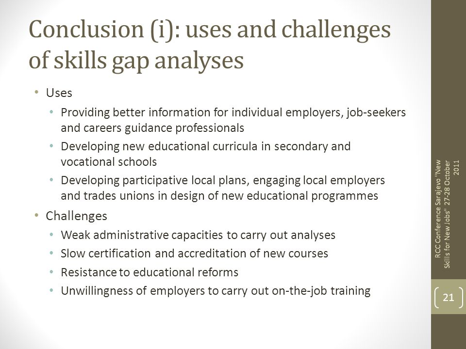 Conclusion (i): uses and challenges of skills gap analyses