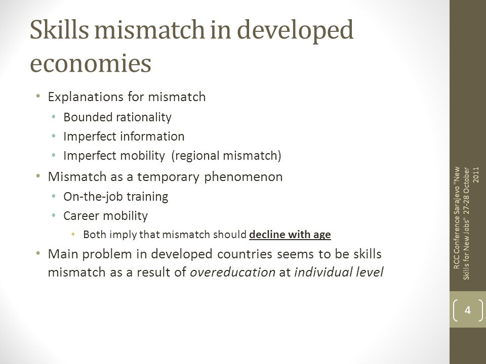 Skills mismatch in developed economies